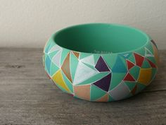 Abstract in pastel colours wooden bracelet by Aramar