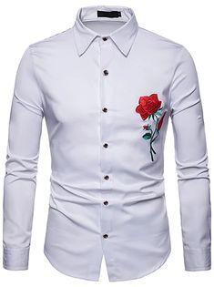 Men's Floral Shirt Basic Long Sleeve Daily Slim Tops Standing Collar White Black Wine / Spring / Work 2021 - Can $34.14 Casual Shirts For Men, Men Casual, Formal Shirts, Casual Wear, Fall Shirts, Spring, Long Sleeve Shirts, Shirt Dress, Men Dress