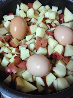 ~POTATO SALAD~  potatoes, eggs, 4lb potatoes/3 eggs;  DRESSING:  mayonnaise mustard aioli if you have any celery, green onions, regular onions (diced small and rinsed in ice water), vinegar, apple cider is my preferred choice water, sugar, salt, pepper, herbs