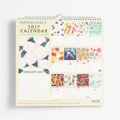Our Art Grid Calendar is spiral-bound for a flexible display and features brand new Paper Source exclusive artwork to inspire you throughout the year. Colorful and creative with a calendar grid below