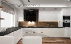 Projekt kuchni Inventive Interiors - biała kuchnia z czarnym blatem i elementami drewna