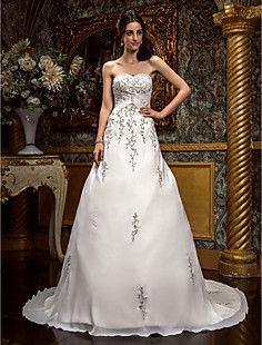 A-line Princess Sweetheart Court Train Chiffon Wendding Dres... – USD $ 249.99