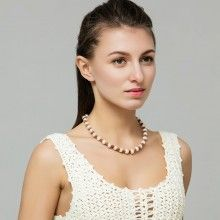 10-11mm Freshwater Pearl Necklace Handmade Leather Necklace Genuine  Button Pearls for Women Jewelry,ETS-S297