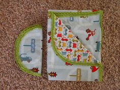 Hem Stitch Baby Boy - Cars and Stop Signs - Flannel Receiving Blanket and Burp Cloth by TheRedGeranium on Etsy