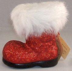 Ino Schaller German Papier Paper Mache Red Glitter Christmas Santa Boot Germany