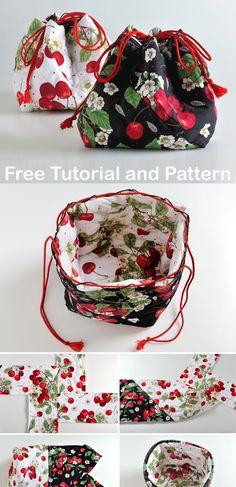 Japanese Bag, Japanese Style, Drawstring Bag Diy, Diy Makeup Bag, Drawing Bag, Potli Bags, Small Sewing Projects, Handmade Purses, Bag Patterns To Sew