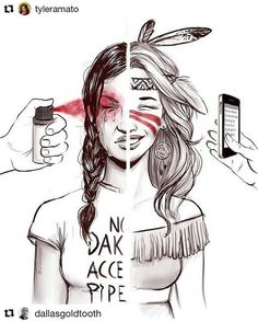Now this is POWERFUL!! Says it all! Thunder Walks About ‏@notaxiwarrior ・・・ {Another pinner wrote:) In reference to the Dakota Access Pipeline protest. I'm not great at words but this issue is very dear to my heart so here's some art.