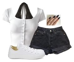 """Untitled #6444"" by hannahmcpherson12 ❤ liked on Polyvore featuring Hollister Co., Levi's and Converse"