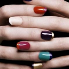 Two-toned-tipped nails. *Head-over-heels*