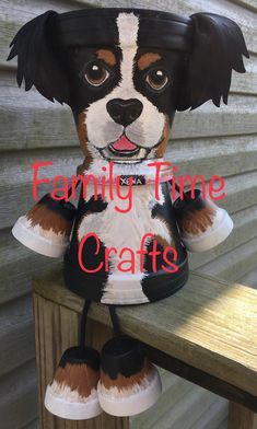 Sweet Bernese mountain Dog clay pot dog made by Sandy Byerly at Family Time Craf Sweet Bernese mount Flower Pot Art, Flower Pot Design, Clay Flower Pots, Flower Pot Crafts, Ceramic Flower Pots, Clay Pot Projects, Clay Pot Crafts, Polymer Clay Crafts, Diy Projects