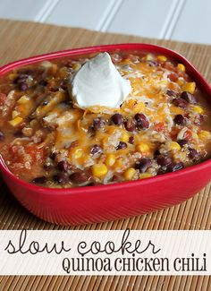 I've been looking for a new chili recipe so I will definitely have to try this one out...Slow Cooker Quinoa Chicken Chili