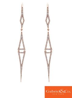Stunning 14k Pink Gold Diamond Drop Earrings by Gabriel & Co. that are the perfect earrings for your special day. These unique and intricate earrings are an eye catcher. These earrings are definitely a hands down favorite of ours!