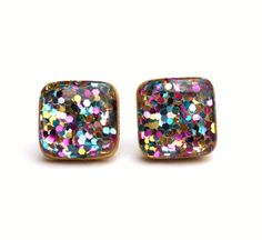 Rainbow glitter studs by starlightwoods