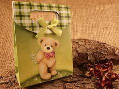 Geschenkbox Faltschachtel 'Green Teddy' 16x12cm   5 von SackundPack, €2.90