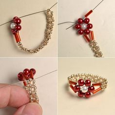 Pearl-Bead-Flower-Rings - easy - picture tute ~ Seed Bead Tutorials