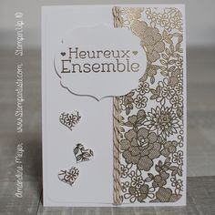 faire une carte mariage httpstampartistecomcarte mariage tampon de fond et embossage a chaud stampinup inspiration starofmay - Tampon Embossage Mariage