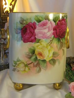 Gorgeous Antique Limoges France Cache Pot Hand Painted Roses Classic Victorian Beauty Vintage Floral China Painting Heirloom Treasure w Gold Ring Handles Circa 1900