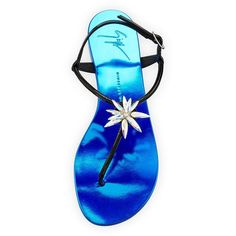 Giuseppe Zanotti Patent Jeweled Flat Thong Sandal (€675) ❤ liked on Polyvore featuring shoes, sandals, jeweled thong sandals, embellished flat sandals, strappy thong sandals, flat thong sandals and embellished sandals