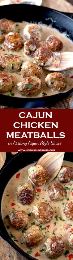 Cajun Chicken Meatballs are tender, juicy and packed with flavor. Perfectly golden brown and smothered in a rich and creamy Cajun sauce. Serve them over pasta, rice or with some toasty bread. This one-pot meal will become a family favorite! Cajun Recipes, Easy Chicken Recipes, Turkey Recipes, Meat Recipes, Easy Dinner Recipes, Appetizer Recipes, Cooking Recipes, Appetizers, Dinner Ideas