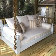 "Description The ""West Ashley"" swing bed is named after a suburb of Charleston, SC. The traditional look boasts a resemblance to standard bed posts. - Traditional swing bed styling - Handmade in the US"