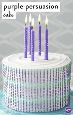 With bright purple and green dots, this cake is simple, yet striking. Using a special tip and a unique icing technique, this cake is easier than it looks, and is a great way to make a dessert that really stands out!