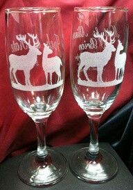Country wedding wine glasses