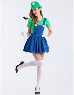 Super Mario Overalls Cosplay Womens Halloween Costume