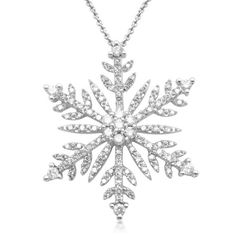 "Amazon.com: Sterling Silver Diamond Snow Flakes Pendant Necklace (1/2 Cttw, I-J Color, I2-I3 Clarity). 18"": Jewelry"
