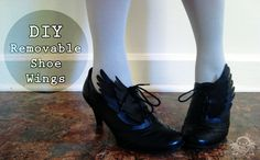 Diy Removable Shoe Wings - great finishing touch for a costume.