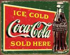Bring this vintage,retro Coca-Cola canvas art print into your living space. This fantastic Coca-Cola Artwork will create a theme in any room. Our Vintage, retro canvas wall art is a very fresh, funky, fun and a colourful way to brighten up your home. Coca Cola Vintage, Vintage Metal Signs, Retro Vintage, Vintage Style, Antique Signs, Retro Style, Vintage Items, Pepsi, Sodas