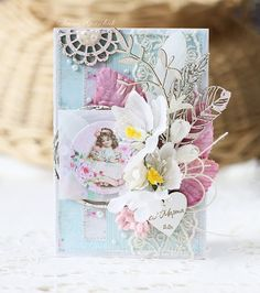 Inspiruje Irina: projekty shabby - Inspirations from Irina: shabby projects Tiny Miracles, Shabby Chic Cards, Vintage Cards, Cardmaking, Diy And Crafts, Mixed Media, Floral, Projects, Inspiration Cards
