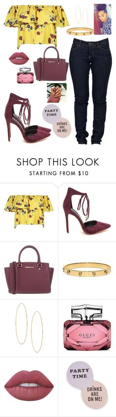 """Happy Hours Anyone??"" by mikamik on Polyvore featuring WithChic, MICHAEL Michael Kors, Tory Burch, Lana, Gucci, Lime Crime and ban.do"