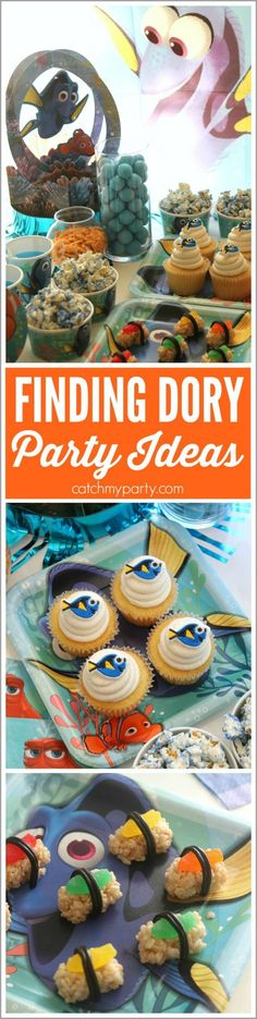 Finding Dory party ideas Including a Finding Dory dessert table   CatchMyParty.com