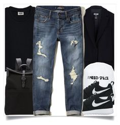 """""""School style"""" by madeinmalaysia ❤ liked on Polyvore featuring MSGM, Mismo, Nasaseasons, NIKE and Hollister Co."""