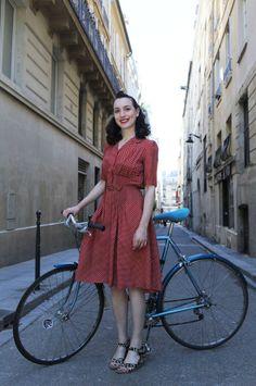 A 1940s Cycle Chic look from @Rósa Guðjónsdóttir To Runway