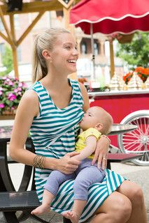 Striped Nursing Tank Dress {Teal & White}