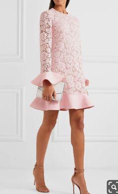 Valentino - Ruffle-trimmed guipure lace and crepe mini dress Dress Skirt, Lace Dress, Pink Dress, Short Dresses, Prom Dresses, Valentino Dress, Mode Outfits, Elegant Dresses, African Fashion