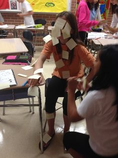 las partes del cuerpo (body parts) post-its-Make it into a game, groups-first group to correctly label the most body parts in Spanish in 30 seconds-1 minute wins.
