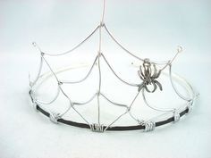 Spider's Web Silver and Black Filigree Gothic Tiara by angelyques, $50.00