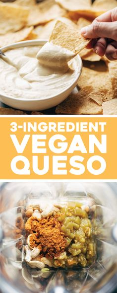 You Have Meals Poisoning More Normally Than You're Thinking That 3 Ingredient Vegan Queso - So Delicious And Creamy With No Frills, No Fuss, No Hard-To-Find Ingredients Just Cashews, Taco Spices, And Green Chiles. Vegan Sauces, Vegan Foods, Vegan Dishes, Vegan Lunches, Vegan Apps, Vegan Meals, Dairy Free Recipes, Vegan Recipes, Cooking Recipes