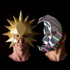 SUN and HALF MOON Masks by Ntanos. Easy to make with PDF download.