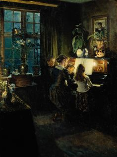 By the piano. The artist's wife and children Viggo Johansen (Danish, Oil on canvas, 65 x 85 cm, Skagens Museum. Skagen, Portrait Au Crayon, Piano Art, Playing Piano, Art Plastique, Beautiful Paintings, Anton, Art Music, Musical