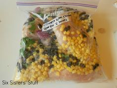 Cilantro Lime Chicken with Corn and Black beans-freeze then cook in Crock Pot