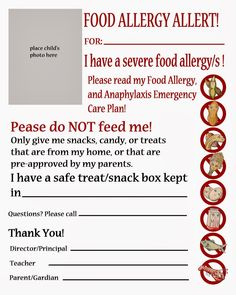Handout to compliment FARE's Emergency Food Allergy Action Plan, for sub folders and specials teachers