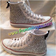 #custom #design #converse #chucktaylor #allstar #white #girlie #girly #lady #woman #women #bow #bling #rhinestone  #frommitoyou #chuckhack #junkchuck