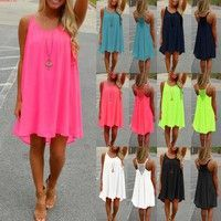 Wish   Sexy Women Summer Casual Sleeveless Evening Party Beach Dress Short Mini Dress Plus Size S-XXXXL