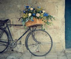 Bicycle Photography Travel Bicycle Flowers France by photogodfrey