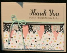 """Stampin' Up!, Banner Blast**, Lots of Thanks, Silver Glimmer Paper, Sweet Sorbet DSP**, Banner Punch**, Pool Party Twine**, Basic Black 1/8"""" Taffeta Ribbon, **2014 Sale-A-Bration Catalog"""