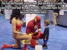 This kid lost his dad in the crowd and started to cry until he saw The Flash and Wonder Woman. He asked them for help because he knows them.