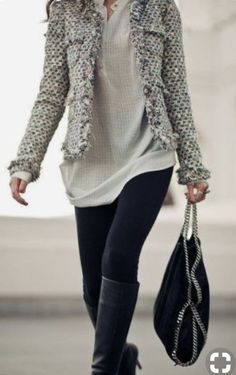 Frayed tweed jacket to dress up leggings